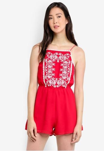 Miss Selfridge red Petite Embroidered Playsuit MI665AA55GQAMY_1
