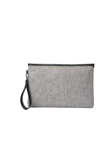 Lara grey Men Plain Hand Bag - Grey 081F0AC7D3B45BGS_1