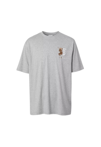 Burberry grey Burberry Contrast Logo Graphic Cotton T-shirt in Pale Gery Melange 6D6C4AA54F0D40GS_1