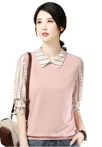 A-IN GIRLS pink Fashion Stitching Sweater T-Shirt 0A9B1AA0900365GS_1