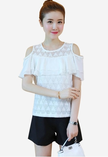 b2ae11f40b260c Buy Halo Ruffles Cold Shoulder Top Online on ZALORA Singapore