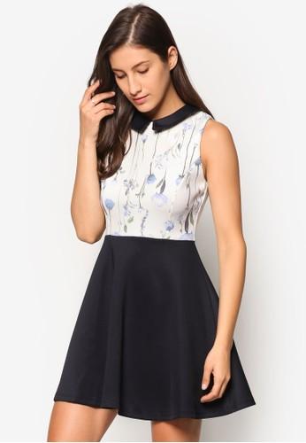 小方領印花拼接洋裝, 服飾, esprit門市洋裝