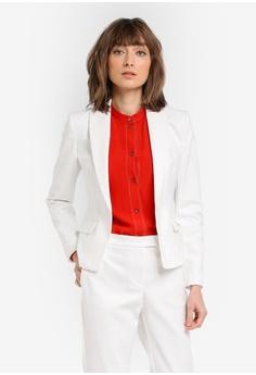 5f85afbbd4ee7 Mango white Essential Cotton-Blend Blazer MA193AA0T0YHMY 1