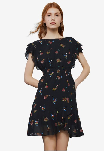 Hopeshow black and multi Short Sleeve Floral Dress 128A8AA5421862GS_1