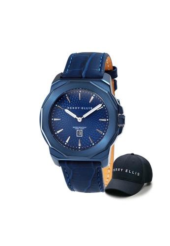 Perry Ellis blue Perry Ellis Decagon Unisex 42mm Quartz Watch 08006-01 with Perry Ellis Cap 77060ACC4D8BB2GS_1
