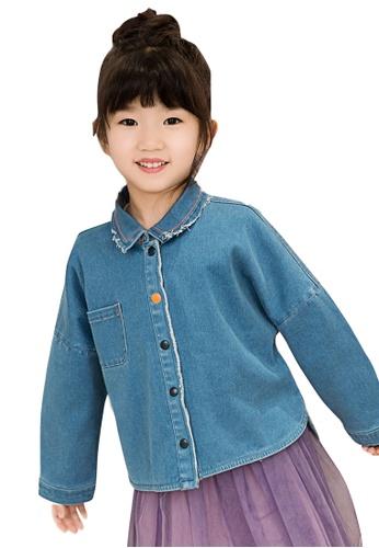 M.Latin blue Long Sleeve Button Denim Jacket 8F6B5KAC3F2AD8GS_1
