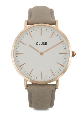 La Bohème 刻度esprit outlet 桃園顯示真皮圓錶, 錶類, 皮革錶帶