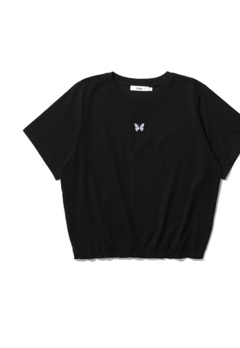 b+ab black Embroidered tee A23E4AA9F80135GS_1