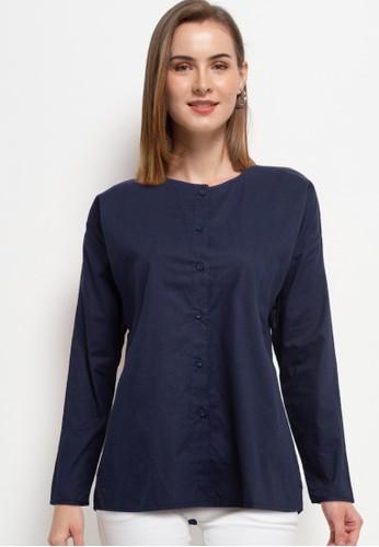 Solene navy Sofia Cotton Shirt EAB96AA0035BE0GS_1