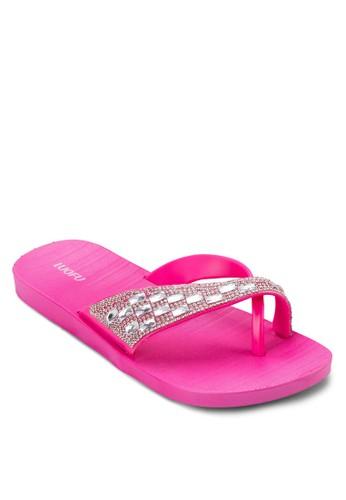 閃飾交叉zalora 鞋評價帶夾腳拖, 女鞋, 拖鞋