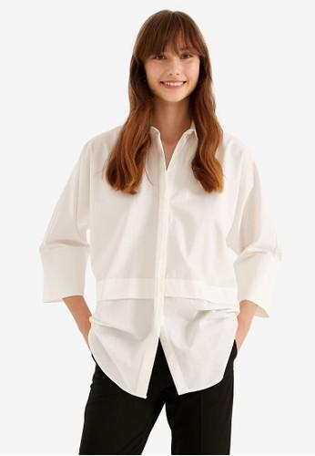 KOTON white Cotton Half Sleeve Shirt 47779AA54C2B06GS_1