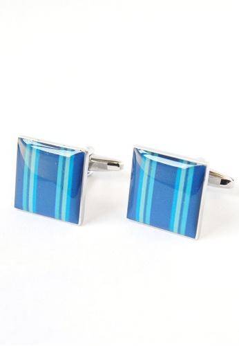 Splice Cufflinks blue Blue Stripes Square Cufflinks SP744AC31ALSSG_1