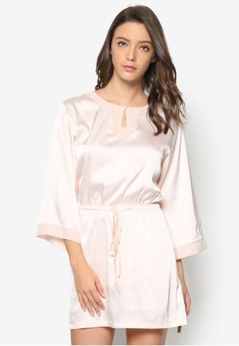 繫帶絲綢連身睡裙, zalora 評價服飾, 睡衣
