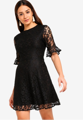 ZALORA black Fit And Flare Flute Sleeves Lace Dress F25A1AA6174070GS_1