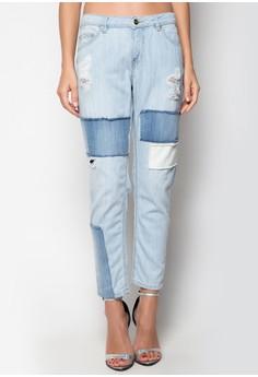 Boyfriend Jeans with Reverse Contrast Patch Detail
