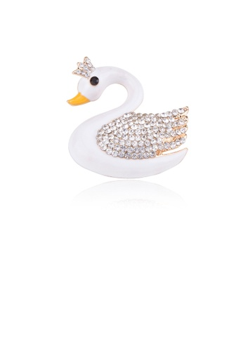 Glamorousky white Simple and Lovely Plated Gold White Swan Brooch with Cubic Zirconia AD37CAC3057D6AGS_1
