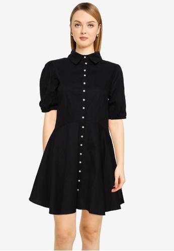 MISSGUIDED black Button Down Skater Shirt Dress 5D285AAB300625GS_1