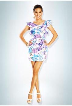 Devidasi Lavender Floral Peplum Cocktail Dress