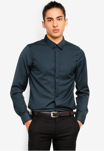 High Cultured 藍色 Long Sleeve Shirt - 66 8B4A5AA1E9B804GS_1