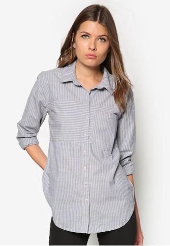 zalora 心得 ptt寬版條紋長袖襯衫, 服飾, 上衣