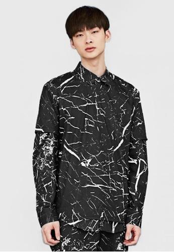 Life8 black Life8 x Daniel Wong Embroidery Marbled Shirt-03670-Black LI283AA02EQRSG_1