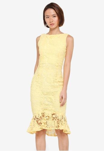 Paper Dolls yellow Crochet Lace Peplum Hem Dress E72B8AA469E3F0GS_1