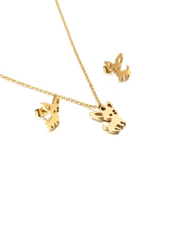 Glamorousky silver Simple Cute Puppy Plated Gold 316L Stainless Steel Necklace and Stud Earrings Set 55B24AC5B8A4ECGS_1