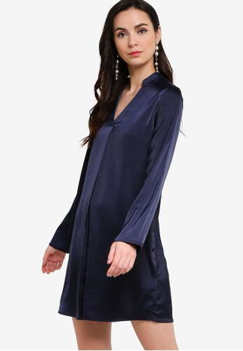 ZALORA WORK navy Satin Long Sleeve Dress 18A59AA7D71AE2GS_1