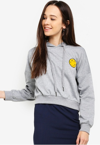 Something Borrowed grey Cropped Hoodie With Patch 46585AA3C7F6ECGS_1