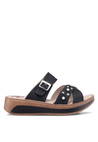 Louis Cuppers black Crossed Strap Sandals 0D844SHEF1F28DGS_1