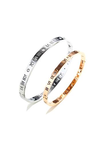 CELOVIS silver and gold CELOVIS - Chantal Roman Numeral Couple Bangle Set AC7D5AC32FAA81GS_1
