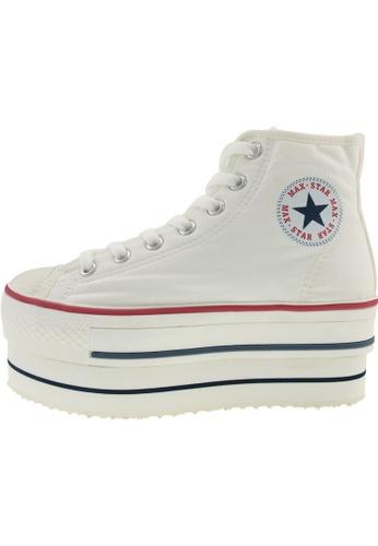 Maxstar 白色 新款韩国鞋CN9-8H時尚帆布布混合女白色 US Women Size MA345SH75HFSTW_1