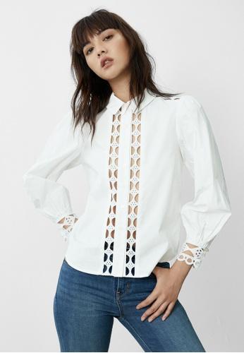 Pomelo white Eyelet Cut Out Puff Sleeve Shirt - White 60D7DAA6B2F342GS_1