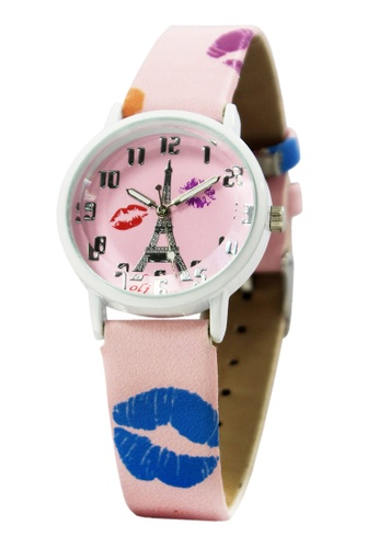 World of Watches pink and multi OLJ Kiss Eiffel   Leather Strap Watch A2449 WO566AC24NGHPH_1