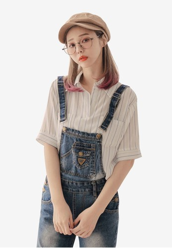 Tokichoi multi and brown Striped Pockets Blouse 1AB0EAA2555AAFGS_1