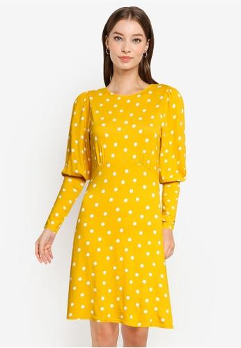 Dorothy Perkins orange Ochre Spot Jersey Fit & Flare Dress B0B0FAA33B8257GS_1