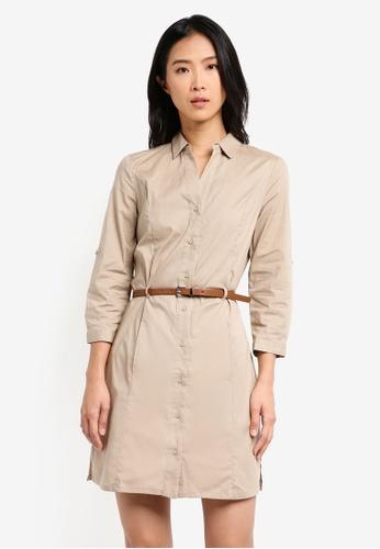 Mango beige Belt Cotton Dress MA193AA0T1KPMY_1