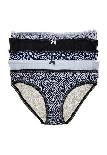 MARKS & SPENCER blue M&S 5 Pack Cotton Lycra Animal Print Bikini Briefs F95D8USA7723DFGS_1