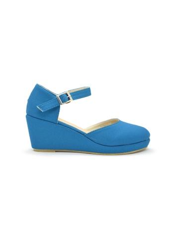 SHINE blue Round Toe Platform Wedges SH554SH0GN89SG_1