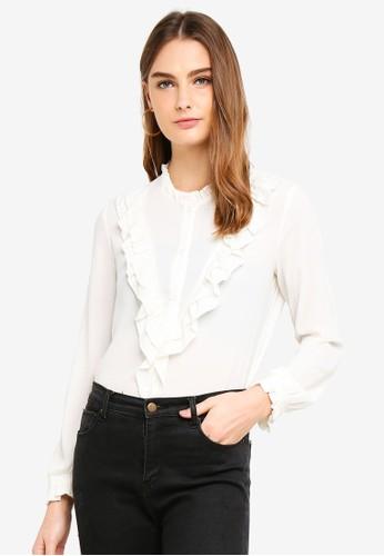 OVS white Shirt With Mandarin Collar And Flounce D9654AA468CE57GS_1