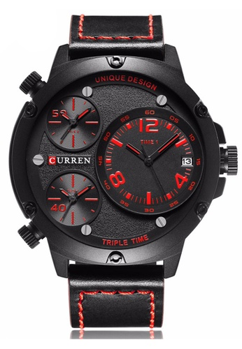 curren black and red CURREN 8262 Men's Multiple Time Zones Auto Date Display Casual Sports Wrist Watch- Black Red CU537AC12HSPMY_1