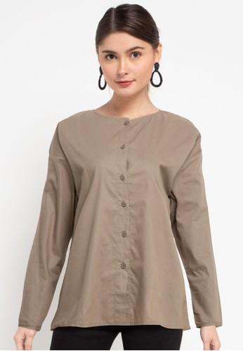 Solene brown Sofia Cotton Shirt 9A16BAA1C7225CGS_1