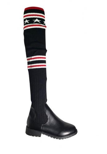 Twenty Eight Shoes 黑色 針織星紋襪子款過膝長靴 VB8898 1724ESH8C15A44GS_1