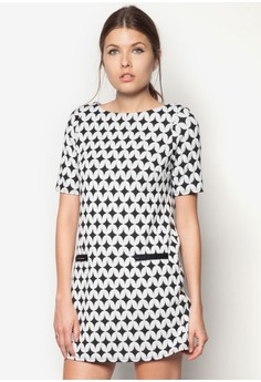Black And White Jacquard Tunic Top