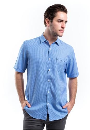 MANLY blue MANLY Kemeja Slim Fit Franzel Dark Blue Short Sleeve CB46DAA2653E93GS_1