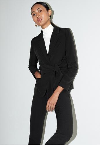 Pomelo black Tie Waist Blazer - Black 9F224AA1781B22GS_1