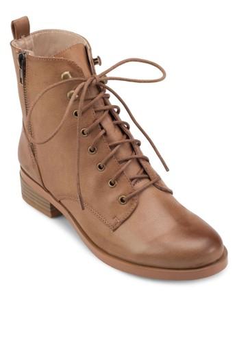 側拉鍊繫帶騎士短靴, 女鞋, 靴esprit 鞋子