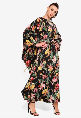 0ff6c804a Zalia black and multi Embellished Chiffon Kaftan 8DD9FAA6D0A17EGS_1