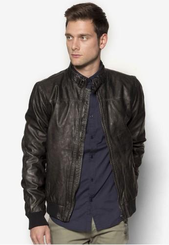 Cary 仿皮拉鍊外套, zalora 手錶服飾, 皮革外套