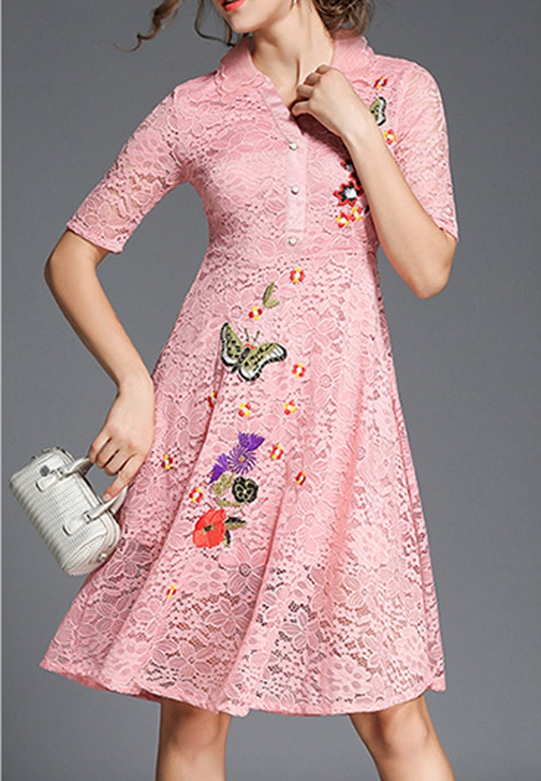 Lace NBRAND Pink Butterfly Dress Embroidery RpxZRF